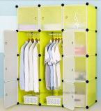 Venta de la cabina del guardarropa de la sala de estar, guardarropa plástico con la percha de ropa poste, guardarropas plegables baratos del dormitorio del panel DIY de los PP (EP-06)