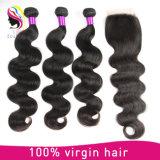 Extensão indiana do cabelo humano de Remy do Virgin não processado por atacado da onda do corpo