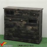 Muchos cajones de almacenamiento de madera antigua gabinete negro