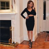 Form Soem-Kleid-Dame-langer Hülsen-reizvoller Verband Bodycon Minikleid