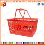 Cesta de compra dobro plástica personalizada do punho (Zhb33)