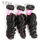 閉鎖のペルーの緩い波の毛を搭載する人間の毛髪の束は自然で黒いRemyの毛の拡張8-28インチを編む