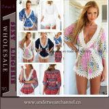 Di modo del Crochet vestito chiffon da estate indietro maxi (TKYA737)