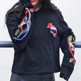 Form-Qualitätsstickerei geerntete Pullover Crewneck Sweatshirts für Soem-Service