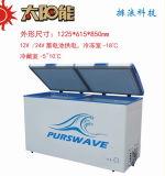 Purswave Bcd-258 258L DC Congelador de caixa solar 12V24V220V110V Geladeira de temperatura dupla alimentado por painel solar e bateria -20degree 0 ~ 10degree