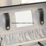 Rectángulo de joyería de cuero de múltiples funciones enorme con Lock&Keys-Negro