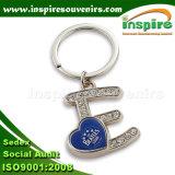 Catena chiave della pietra del metallo dell'epossidico di figura della lettera del regalo di promozione