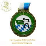 卸し売りカスタム円形浮彫りのタイルのスポーツのリボンのテニスのバッジメダルリボン