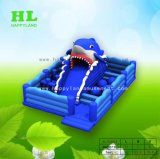 De nieuwe Speelplaats van de Uitsmijter van de Haai van het Ontwerp Blauwe Opblaasbare