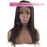 Peruca longa brasileira personalizada do laço do cabelo humano do Virgin da base do tampão do laço