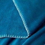 Microfiber imprimiu o cobertor azul da flanela do pavão coral Quick-Dry do velo