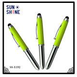 1本のスタイラスボールペンLEDの軽い金属のペンに付き卸売3本