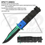 """5 """"戦術的なばねはみょうばんのハンドルが付いているナイフを助けた: 6pn171-50bkr"""