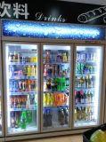 Armadietto di esposizione del frigorifero del portello tre di vetro