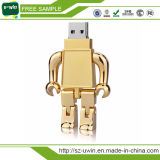 Movimentação de prata do flash do USB do robô do metal do ouro