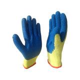 Gants bleus de latex pour l'inducteur de construction