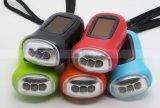 Coloré 3 LED Solar Rechargeable manette à manivelle Torche Dynamo Emergency Flashlight (1211)