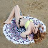 Algodón 100% impreso alrededor de la toalla de playa con el diámetro de la franja el 150cm