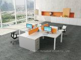 حديثة 4 [ستر] خطّيّ مكتب مركز عمل طاولة مع شاشة حاجز ([هف-زلب06])