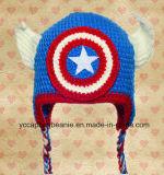 アメリカ赤ん坊のハンドメイドの編まれた大尉の帽子および柔らかいスポーツの靴