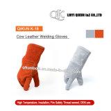 Перчатки заварки коровы безопасности серого цвета K-17 работая кожаный