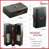 Verpakkende Doos van de Wijn van de Gift van het Leer van de luxe de Met de hand gemaakte Pu (5668R1)
