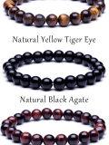Tiger-Augen-Buddha-Lava-rundes Raupe-Elastizität-Seil-Armband