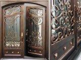 Изготовленный на заказ двери входа утюга размера с Tempered стеклом для дома