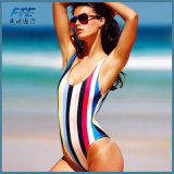 한 조각 섹시한 여자 줄무늬 바닷가 착용 형식 비키니