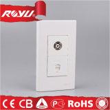 1 Gang Electric Wall Socket de telefone Socket de TV