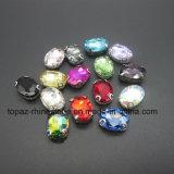 Het Bergkristal van de Klauw van de Toebehoren van de steen naaien-op Bergkristallen (sW-Ellips 8*10)