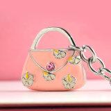 2016 Fashion Metal Pink Flower Bag em forma de chaveiro para bolsa