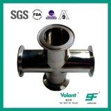 Cruz embridada sanitaria del acero inoxidable de las instalaciones de tuberías