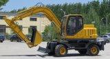 Excavadora de Ruedas hidráulicas martillo rompiendo con el motor de altas prestaciones