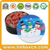 昇進のクリスマスのプレゼントの包装のための円形の金属のクリスマスのクッキーの錫