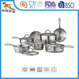 12 PCSのステンレス鋼はガラスふたが付いている鍋を炒める