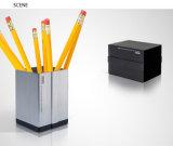 Cor quadrada da prata do vaso do lápis do metal da forma