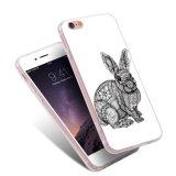 iPhone Samsung Huaweiのための白黒ウサギTPUの絵画パターン電話箱