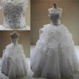Vestidos de casamento nupciais Ruffled cristal de perolização pesados 2018 do vestido de esfera
