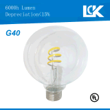 Nueva bombilla espiral del filamento LED de CRI90 10W 1100lm G40