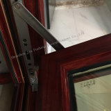 Wood-Looking Casement de aluminio ventanas de doble vidrio templado