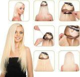 Clip cabello virgen peruana en paquetes de EXTENSIÓN DE CABELLO 100% tejido de cabello humano.