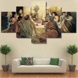 Modulare Segeltuch-Wand-Kunst stellt Rahmen-Plakate 5 Stücke letzte Abendessen-Farbanstrich-HD gedruckte moderne Hauptdekoration-Wohnzimmer-dar