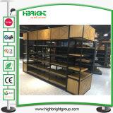 Estantería de lujo del supermercado de la dimensión de una variable de la curva de madera y del metal