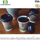Engrosamiento de pared doble taza de café de papel con el logotipo personalizado