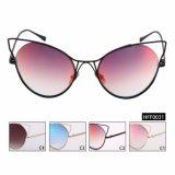 Óculos de sol espelhados do olho de gato forma fêmea com frame inoxidável (HFF0031)