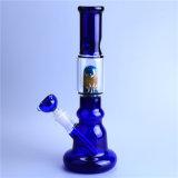 Tubulação de fumo de vidro de Perc do cilindro azul de vidro da tubulação de água