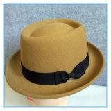 Form-Wolle-Filz Porkpie Fedora-Hut mit Farbband