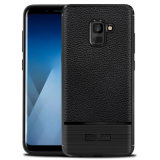 Новая конструкция из углеродного волокна противоударная Litchi шаблон из натуральной кожи мягкий TPU чехол для Samsung Galaxy 2018 A5/A7 2018 дела