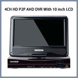 4CH HD P2p-Ахд регистратор с 10-дюймовый ЖК-дисплей